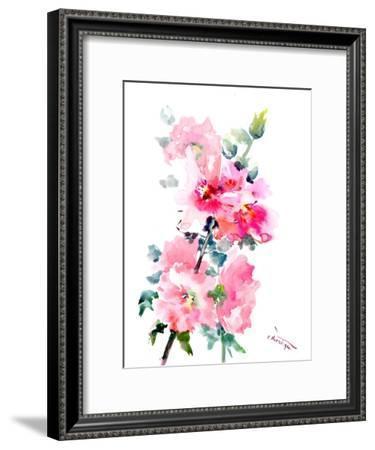 Pink Hollyhock Flowers 2-Suren Nersisyan-Framed Art Print