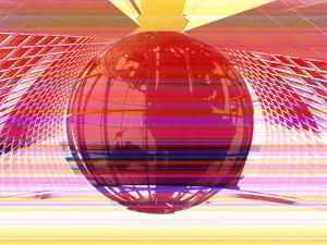Pink Image of Globe in Network