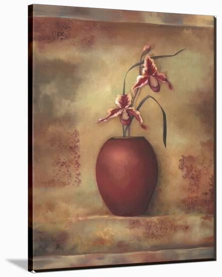 Pink Orchid in Vase II-Louise Montillio-Stretched Canvas Print