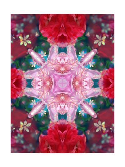 Pink Ornament Cross With Red Blossoms-Alaya Gadeh-Art Print