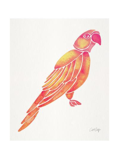 Pink Perched Parrot-Cat Coquillette-Giclee Print