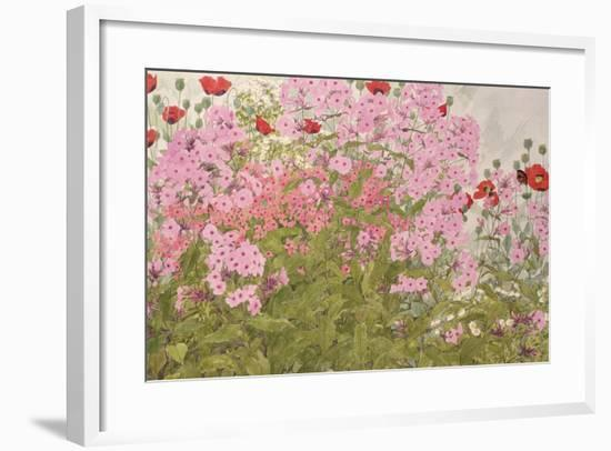 Pink Phlox and Poppies with a Butterfly-Linda Benton-Framed Giclee Print