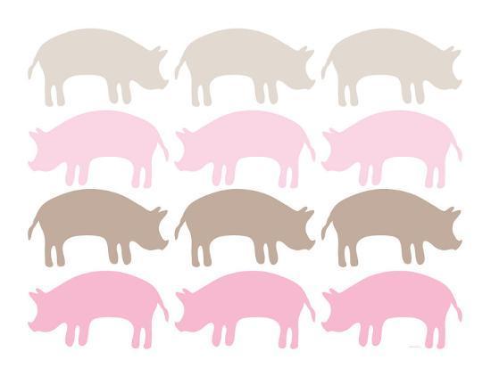 Pink Pig Family-Avalisa-Art Print