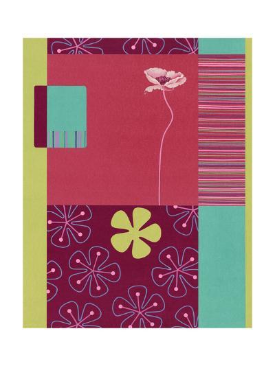 Pink Poppy Patchwork--Art Print