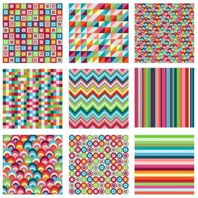 Collection Of Nine Bright Geometrics by Pink Pueblo