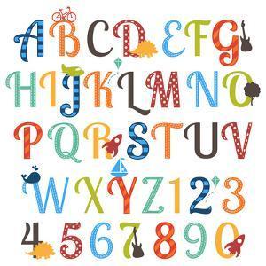 Cute Retro Style Boy Themed Alphabet Set by Pink Pueblo