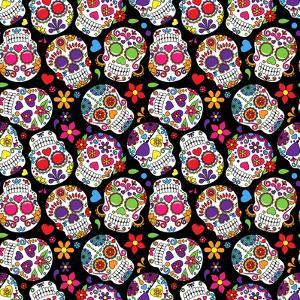 Day of the Dead Sugar Skull Seamless Vector Background by Pink Pueblo