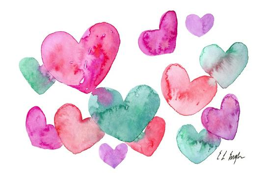 Pink, Purple, Blue Hearts-Elise Engh-Art Print