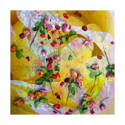 Pink Roses On Yellow Abstract-Alaya Gadeh-Art Print