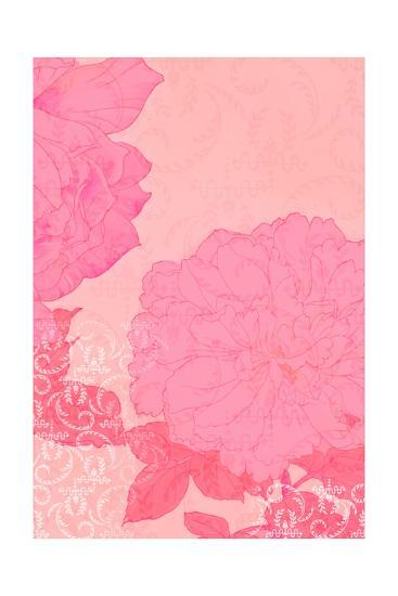 Pink Roses with Texture Background--Art Print