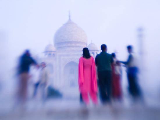 Pink Sari, Taj Mahal, India-Walter Bibikow-Photographic Print