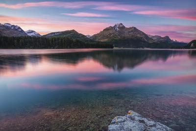 Pink Sky at Dawn Illuminates the Peaks Reflected in Lake Sils, Canton of Graubunden, Switzerland-Roberto Moiola-Photographic Print