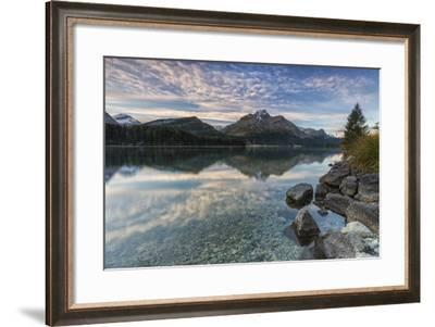 Pink Sky at Dawn Illuminates the Peaks Reflected in Lake Sils, Canton of Graubunden, Switzerland-Roberto Moiola-Framed Photographic Print