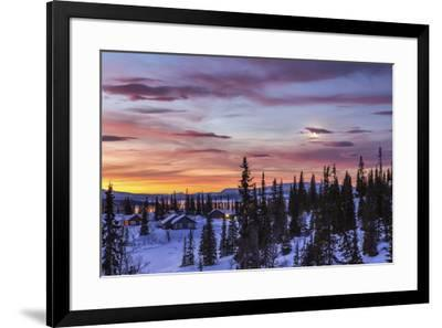 Pink sky at sunrise Norway Europe-ClickAlps-Framed Photographic Print