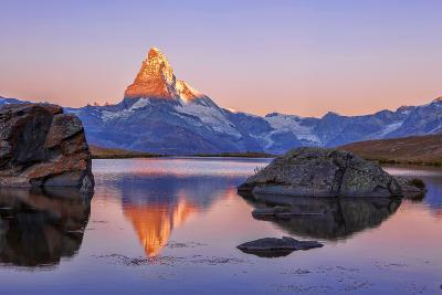 Pink Sky at Sunrise on the Matterhorn Reflected in Stellisee-Roberto Moiola-Photographic Print