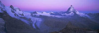Pink Sky Before Sunrise Over the Lower Theodul Glacier and the Matterhorn Mountain, Swiss Alps-Ruth Tomlinson-Photographic Print