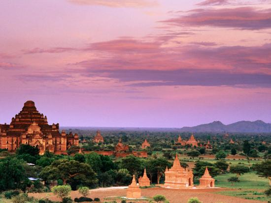 Pink Sky From Swesandaw Paya, Bagan, Myanmar (Burma)-Anthony Plummer-Photographic Print