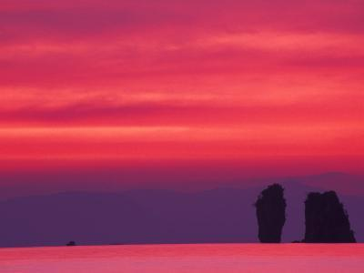 Pink Sky Reflected in Sea With Karst Islands, Phang Nga Bay, Thailand-John & Lisa Merrill-Photographic Print