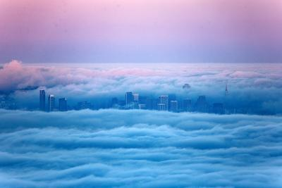 Pink Sunrise Morning Light and San Francisco in Fog Cityscape Urban-Vincent James-Photographic Print