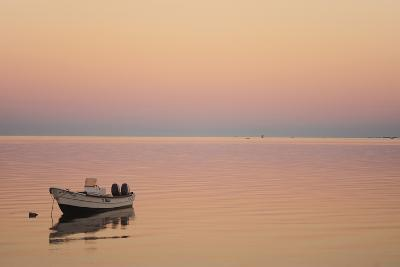 Pink Sunrise with Small Boat in the Ocean, Ifaty, Tulear, Madagascar-Anthony Asael-Photographic Print