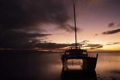 Pink Sunset over the Pacific Ocean with an Anchored Catamaran on Molokai, Hawaii-Jonathan Kingston-Photographic Print