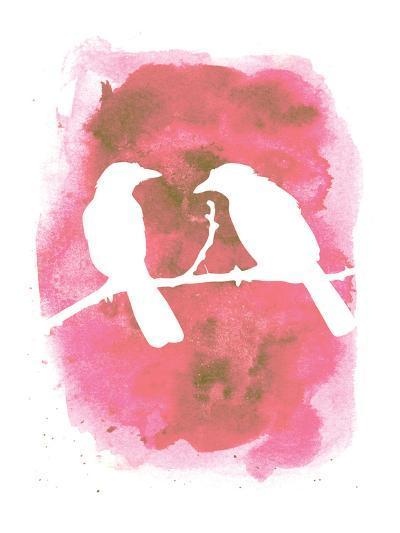 Pink Watercolor Birds-Jetty Printables-Art Print