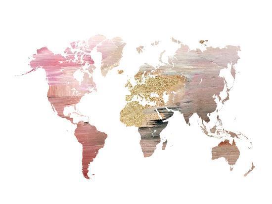 Pink World Map Art Print By Ikonolexi Art Com