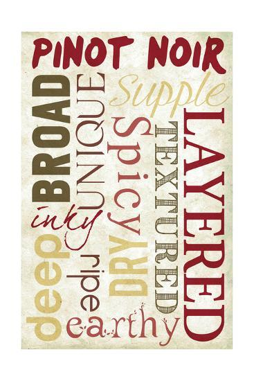 Pinot Noir Typography-Lantern Press-Art Print