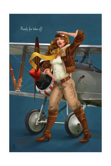 Pinup Girl Aviator - Ready for Take Off!-Lantern Press-Art Print