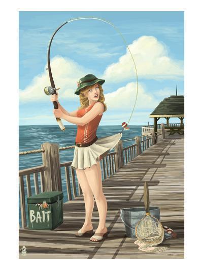 Pinup Girl Fishing on Ocean-Lantern Press-Art Print
