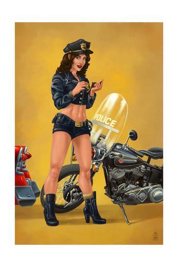 Pinup Girl Police Officer-Lantern Press-Art Print