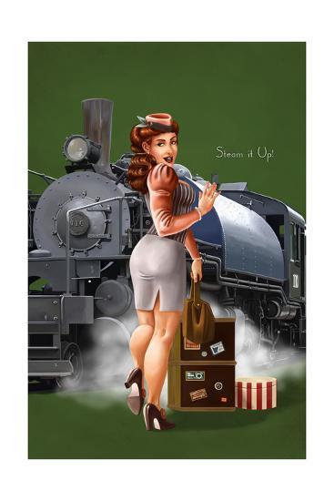 Pinup Girl Railroad Trip-Lantern Press-Art Print