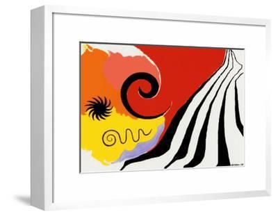 Pinwheel and Flow, c.1958-Alexander Calder-Framed Art Print