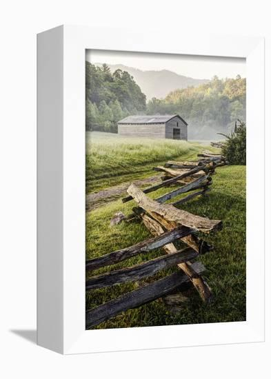 Pioneer's Barn, Split Rail Fence, Cades Cove, Great Smoky Mountains National Park, Tennessee, USA-null-Framed Premier Image Canvas