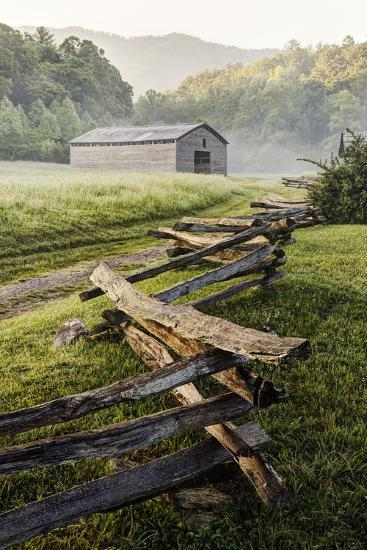 Pioneer's Barn, Split Rail Fence, Cades Cove, Great Smoky Mountains National Park, Tennessee, USA--Photographic Print