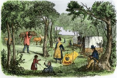 Pioneers' Camp at Sunset Along the Oregon Trail, 1850s--Giclee Print