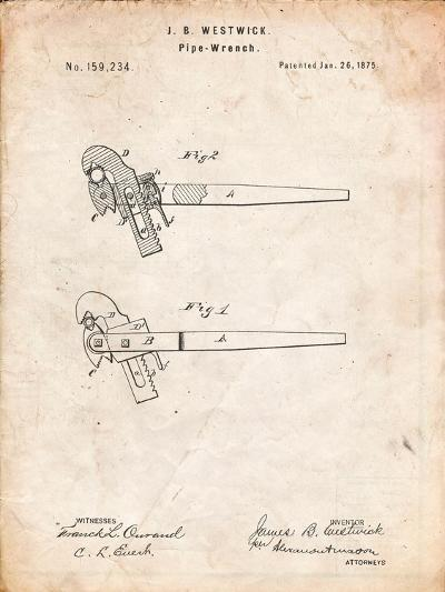 Pipe Wrench Tool Patent-Cole Borders-Art Print