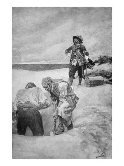 Pirate Captain William Kidd Burying Treasure on Gardiner's Island--Giclee Print