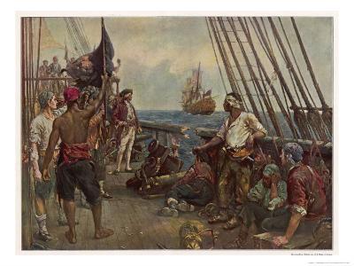 Pirate Crew Defy a Naval Warship-Bernard F. Gribble-Giclee Print