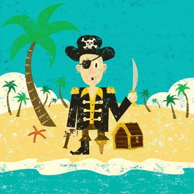 Pirate on an Island with Treasure a Pirate with His Treasure on a Deserted Island- Retrorocket-Art Print