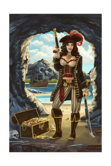Pirate Pinup Girl-Lantern Press-Art Print