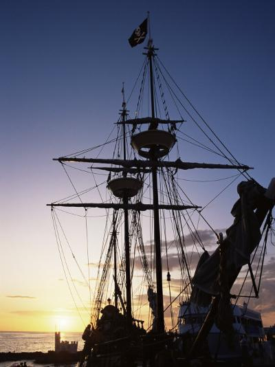 Pirate Ship in Hog Sty Bay, During Pirates' Week Celebrations, George Town, Cayman Islands-Ruth Tomlinson-Photographic Print