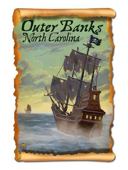 Pirate Ship - Outer Banks, North Carolina-Lantern Press-Art Print