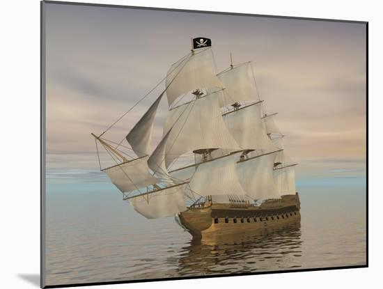 Pirate Ship with Black Jolly Roger Flag Sailing the Ocean-null-Mounted Art Print
