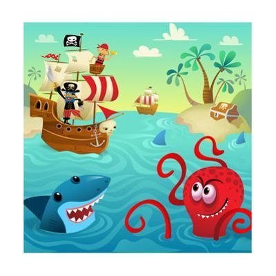 Pirate Ship with Shark and Octopus in Water with Treasure