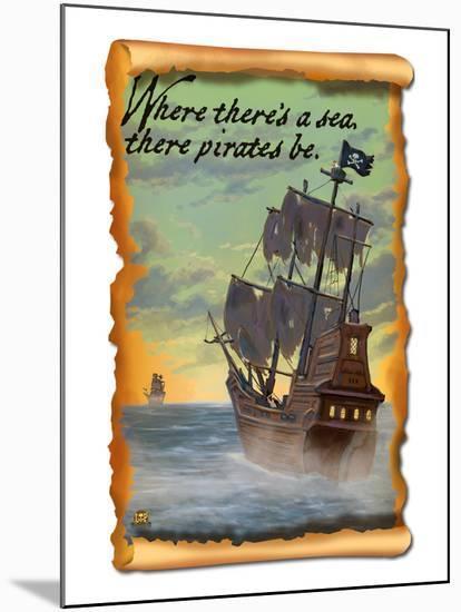 Pirate Ship-Lantern Press-Mounted Art Print