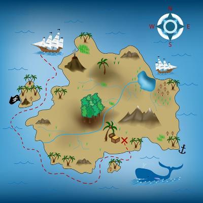Pirate Treasure Map-miskokordic-Art Print