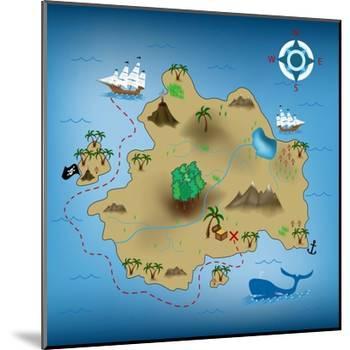 Pirate Treasure Map-miskokordic-Mounted Art Print