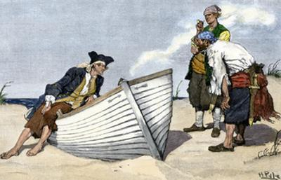 Pirates Around a Rowboat on An Island