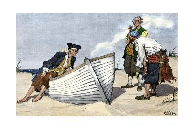 Pirates Around a Rowboat on An Island--Photographic Print